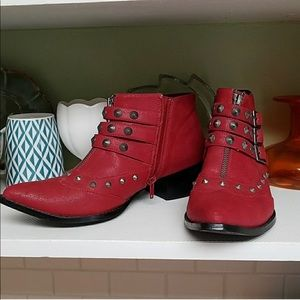 Nasty gal red booties. Never worn. Size 8.5